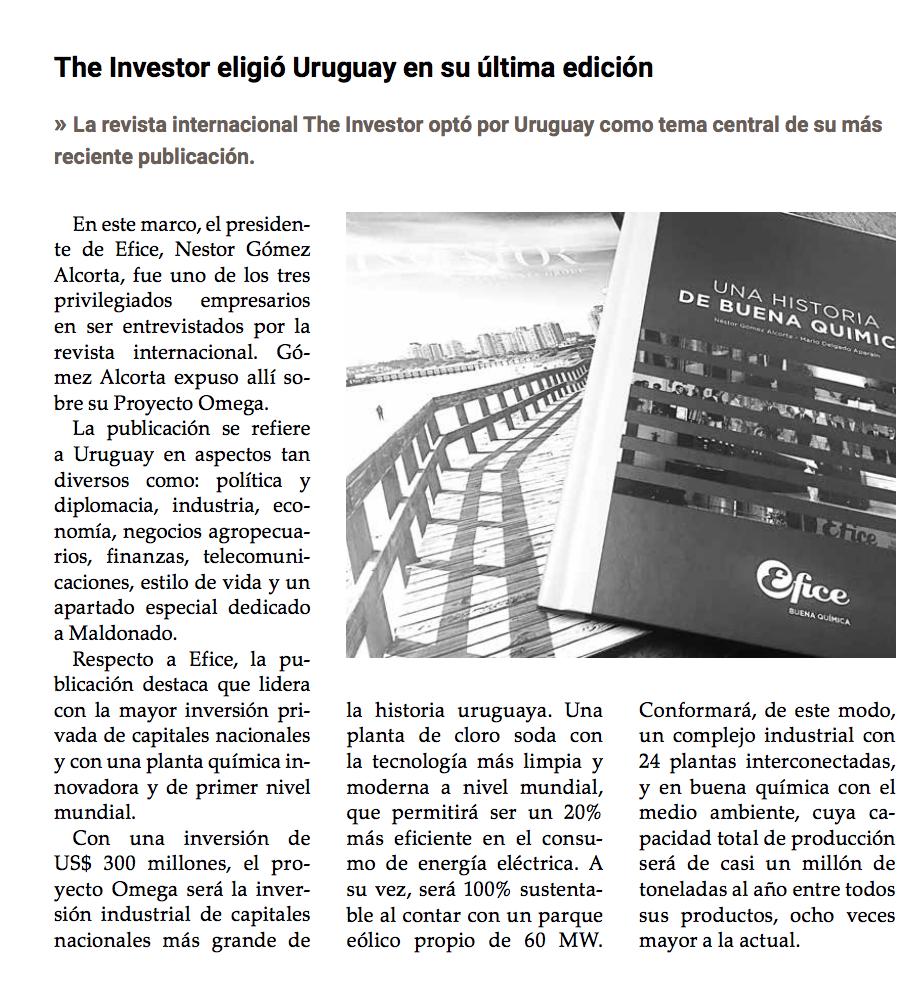 Efice destacada por la revista The Investor